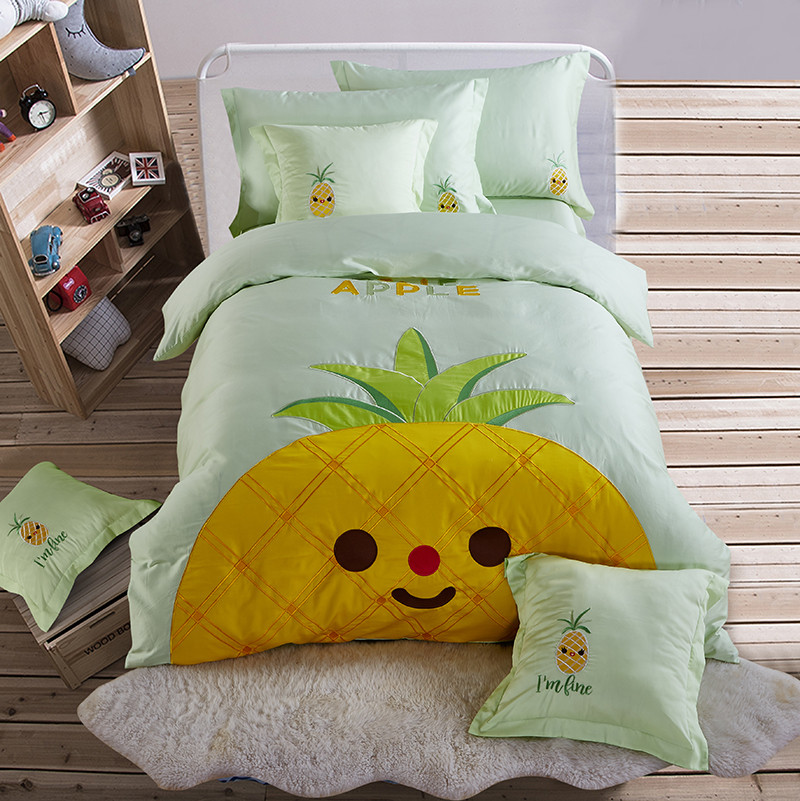 luxury Pineapple embroidery bedlinens high quality Egyptian cotton fabric 4/6pcs Twin/Queen size duvet cover set bedding setluxury Pineapple embroidery bedlinens high quality Egyptian cotton fabric 4/6pcs Twin/Queen size duvet cover set bedding set