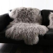 Натуральный кудрявый монгольский ковер из овечьей кожи 1 Пелт натуральный Тибетский коврик из овчины свободной формы, декоративная меховая подушка распродажа