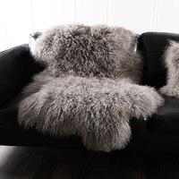 Alfombra de piel de oveja mongol rizado Natural 90*50 cm alfombra de piel de oveja genuina de Tíbet, alfombra de piel decorativa S001