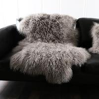 Natural curly Mongolian sheep skin fur rug 1 Pelt genuine Tibet free cut shape sheepskin rug , decoration fur cushion SALES