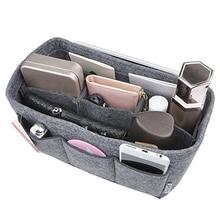Felt Fabric Storage Rack Multiple Pockets Women Makeup Cosmetic Organizer Pouch Portable Travel Insert Handbag Tote Toiletry Bag