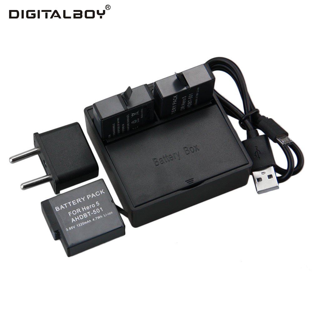 3pcs 1220mAh GoPro hero 5 Battery AHDBT 501 Battery 2 Way Dual USB Charger for Go