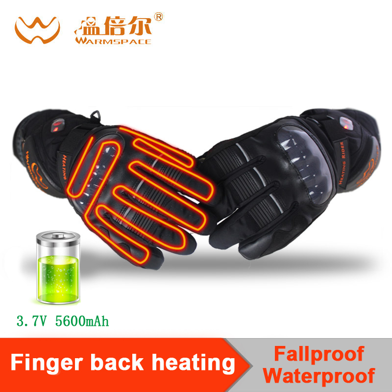 Warmspace Motorcycle gloves heated riding racing bicycle Ski winter Outdoor Sports Electric battery Heating Gloves Touchscreen savior outdoor motorbike battery heated glove fishing waterproof riding racing heating man warming 40 65 degree leather en13594