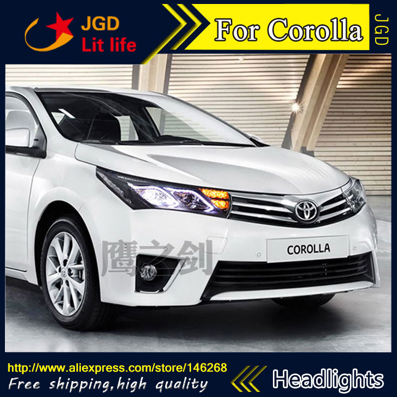 Free shipping ! Car styling LED HID Rio LED headlights Head Lamp case for Toyota Corolla 2014 Bi-Xenon Lens low beam