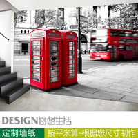 Bus telephone booth black and white modern mural wallpaper background wall paper 3d three-dimensional wallpaper