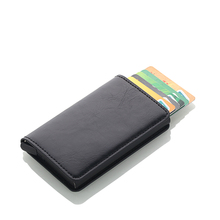 купить New RFID Blocking Vintage Leather Credit Card Holder Men Aluminum Business ID Card Case Automatic Male Metal Cardholder Wallet дешево