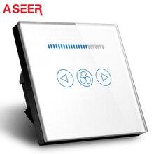 ASEER EU Standard 3 mode speed control Ceiling Fan Switch 500W,White Crystal Glass, LED backlight,Speed regulating fan switch