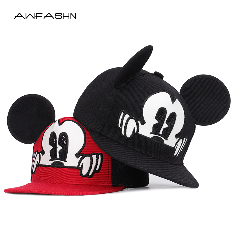 Summer Mickey Children's Cartoon Hip Hop Hats Boys Girls Universal Adjustable High Quality Outdoor Shade Breathable Mesh Caps