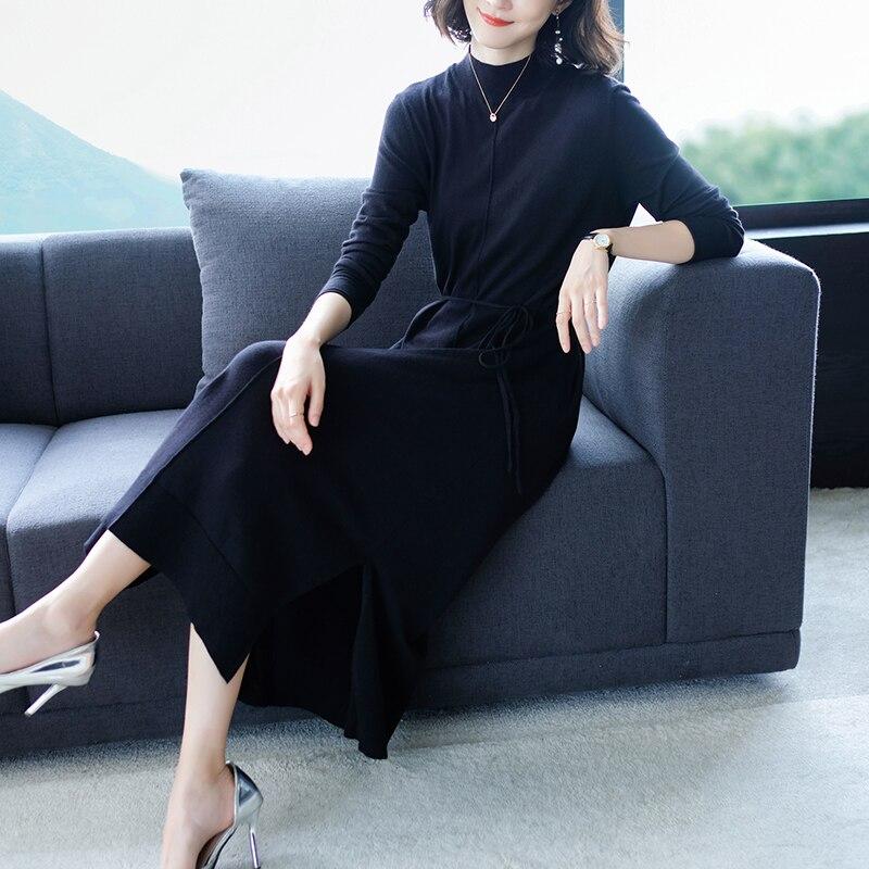 Automne À Longues Pulls Longue Mode Femmes Col bleu Noir Manches Tricoté Robe 2018 Robes Chandail Roulé Hiver UnWEwCc11q