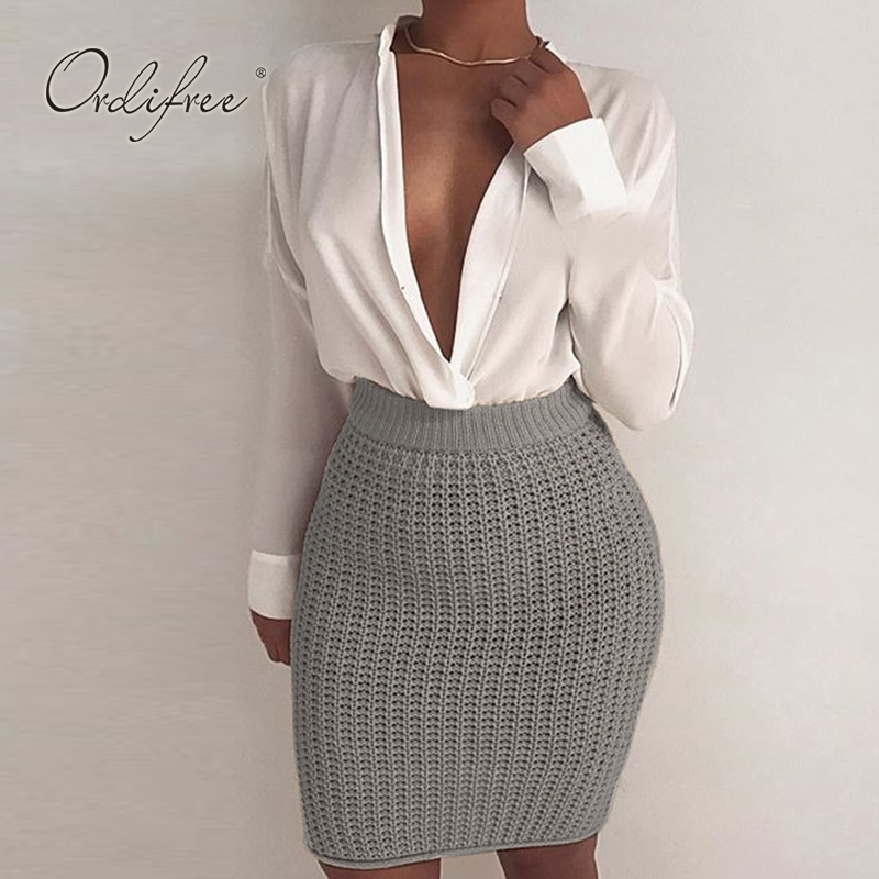 Ordifree 2019 Autumn Winter Women Knitted Pencil Skirt High Waist Short Sexy Bodycon Skirt semi formal summer dresses