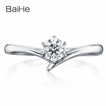 BAIHE Solid 10K White Gold(AU417) Certified 0.25ct Round 100% Moissanite Engagement Trendy Wedding Women Gift Fine Jewelry Ring image