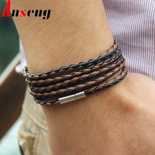 Anseng Brand Trendy Sproty Male Chain Link Charm Bracelet Bangles High Quality Classic Wrap Leather Men Bracelet Jewelry