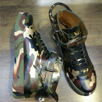 2017 Shoes Man Autumn/Winter Casual Leather Metal Lock Buckle Lace Up High Top Camouflage Print Flats Street Dance Tide Shoes
