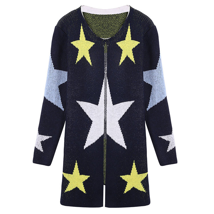 2018 Autumn Cardigans Stars Pattern Print Fashion Women Long Sweaters Loose Warm Knitted Cardigans Long Sleeve Casual Outwears