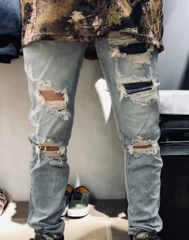 39e5e1e963a Skinny Ruched Stripe Distressed Stretch Biker High Quality Ripped Patches  Bleach Blue Denim Jeans Low Waist Free Shipping