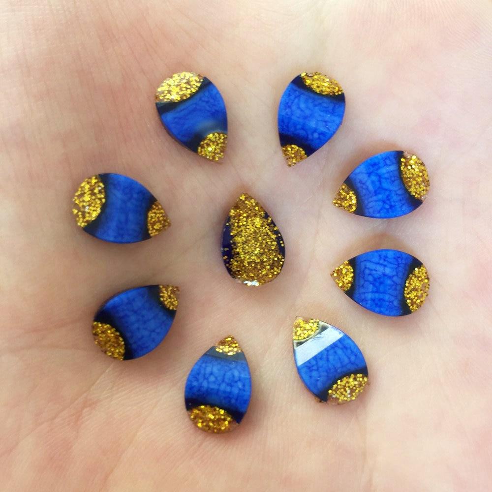 100PCS shiny Resin gold dust 8*12mm drop Flatback stone scrapbook wedding DIY