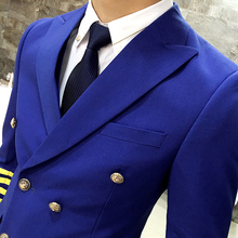 MAUCHLEY 3 Piece/Set Men Suits For Fashion Formal Dress Men Suit Set Men Wedding Suits Groom Tuxedos Double-Breasted Airman