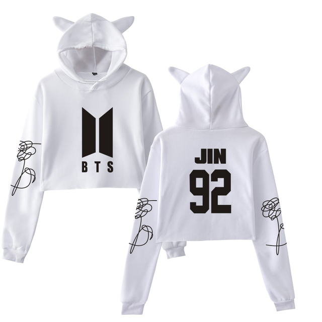 Wow BTS Cool Love Yourself Tear Fake Love Kpop Long Sleeve Cropped Hoodies  Sweatshirt Cat Women Hooded Pullover Crop Top Clothes 1455ac2a87