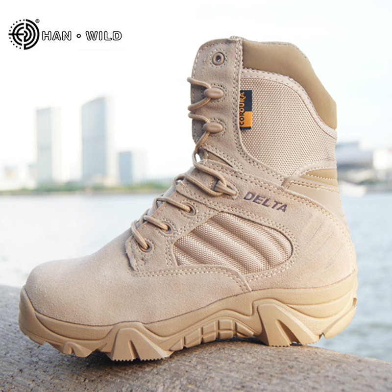 HANWILD Winter Autumn Men Military Boots Work Snow Boots