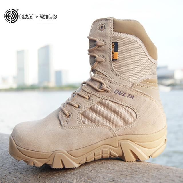 冬秋男性ミリタリーブーツ品質特殊部隊戦術砂漠戦闘アンクルボート軍作業靴革雪のブーツ