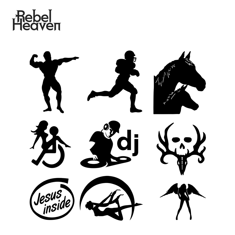 Rebel Heaven <font><b>Funny</b></font> Car <font><b>Sticker</b></font> Bone Collector Deer Hunting Horse Family WHEELCHAIR <font><b>SEX</b></font>* Bodybuilder Vinyl Decal Car Assessoires image