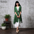 ZANZEA Fashion 2017 Women Summer Casual Loose Blouses Linen Cardigan Elegant Half Sleeve Long Vintage Outwear Plus Size S-5XL