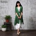 ZANZEA Fashion 2017 Women Summer Casual Loose Blouses Linen Cardigan Elegant Half Sleeve Long Vintage Outwear Plus Size S-5XL