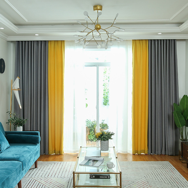 Yellow Grey Living Room Curtains Log Furniture Byetee Solid Color For Kitchen Bedroom Customize Finished Window Drapes