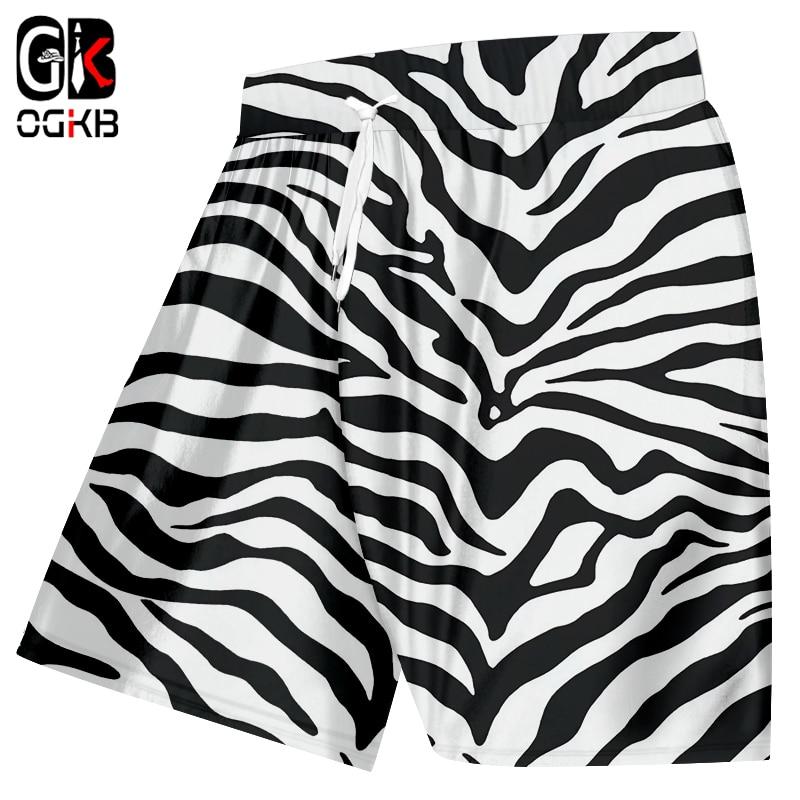 OGKB Summer Print Animal Leopard Casual Shorts Mens Full Printing Zebra Stripe 3D Beach Board Shorts Male Hiphop Shorts Trousers