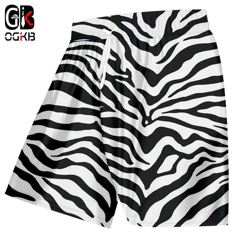 acf870badb OGKB Summer Print Animal Leopard Casual Shorts Mens Full Printing Zebra  Stripe 3D Beach Board Shorts Male Hiphop Shorts Trousers