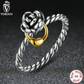 Genuine 925 Sterling Silver Rose Flower Ring 925 Silver Finger Rings Compatible with VRC Original Luxury Jewelry A7113