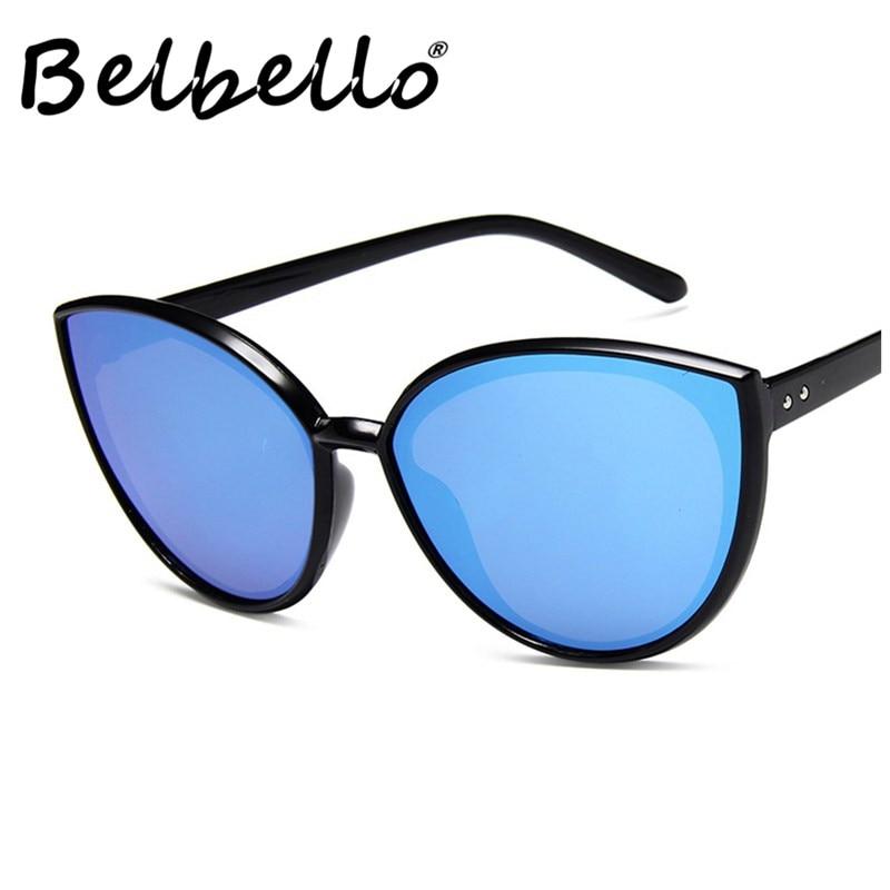 Belbello Adult Sunglasses Women Large Lenses Solid Fashion Men Plastic Acrylic Punk UV400