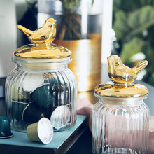 Nordic Luxury Storage Tank Gold-plated Glass Sealed Candy Jars Can Makeup Cotton Swab Kitchen Food Containers