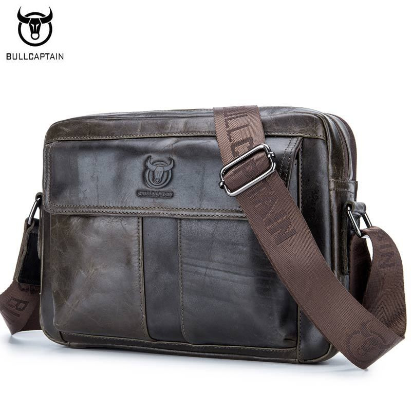 BULLCAPTAIN Genuine Leather Men Bag Casual Business Man Shoulder Crossbody bags Cowhide Large Capacity Travel Messenger Bags big pocket pad genuine business greased leather cowhide travel crossbody 14laptop shoulder messenger book shopping fashion bags