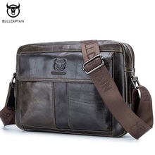 BULLCAPTAIN Genuine Leather Men Bag Casual Business Man Shoulder Crossbody bags Cowhide Large Capacity Travel  Messenger Bags  цена и фото