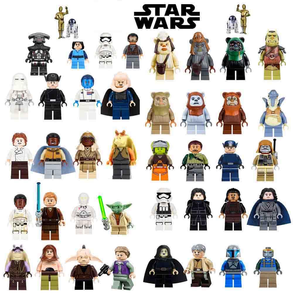 Single-Sale-legoing-Star-Wars-Luke-Leia-Han-Solo-Anakin-Darth-Vader-Yoda-Jar-Jar-Building