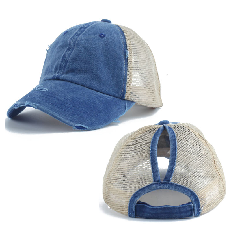 2019 New Ponytail   Baseball     Cap   Women Summer Breathable Mesh Hats Casual Washed Cotton Snapback Girls Sun   Caps