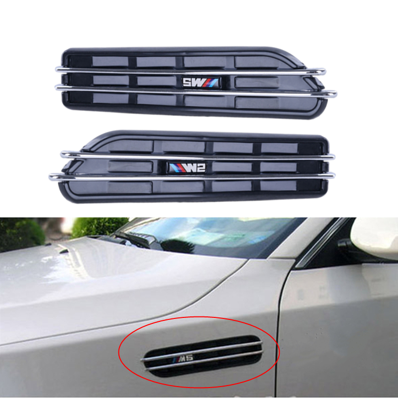 2x Chrome 3D Car Stickers Front Fender Side Vent Grills Air Flow For BMW E12 E28 E39 E60 E61 F07 F10 F11 F18 M5 #9148