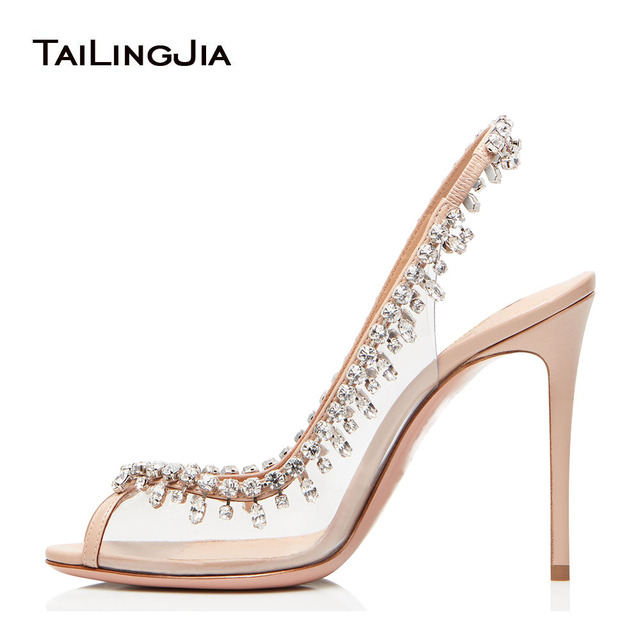 New Woman PVC Sandals Luxury Peep Toe Summer Pumps With Many Shiny Crystals Ladies High Quality Handmade Glass Slip On High Heel