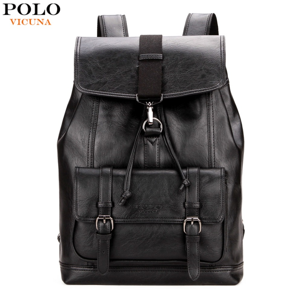VICUNA POLO Personalized Anti-theft Buckle Drawstring Bag Men Backpack Trendy Leather Back Pack For Men Hot Sell sac a dos homme vintage drawstring and pin buckle design backpack for men