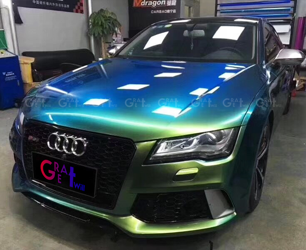 Gloss Magic Ghosts Green Vinyl Wrap Film With Air Bubble Free Magic Glossy Car Wrap Cover Styling Size 1.52*20M/Roll