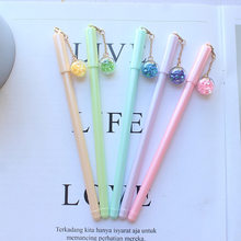 Cute Gel Pen Lovely Candy Color Dried Flowers Pendent with Colorful Light Pen Multi-function 0.5mm Black Ink Bulb Pen Gifts(China)