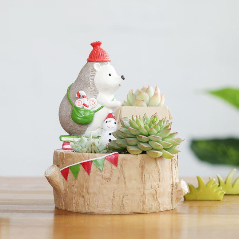 Mini Hedgehog Resin Succulent Plants Flower Pot Micro Landscape Planters Home Garden Decor Gifts T0.2