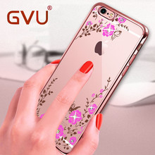 GVU Phone Case For iPhone 6 Case Luxury TPU Soft Shell Silicone Shell Rose petals For iPhone 6 6s 7 Plus Case Cover