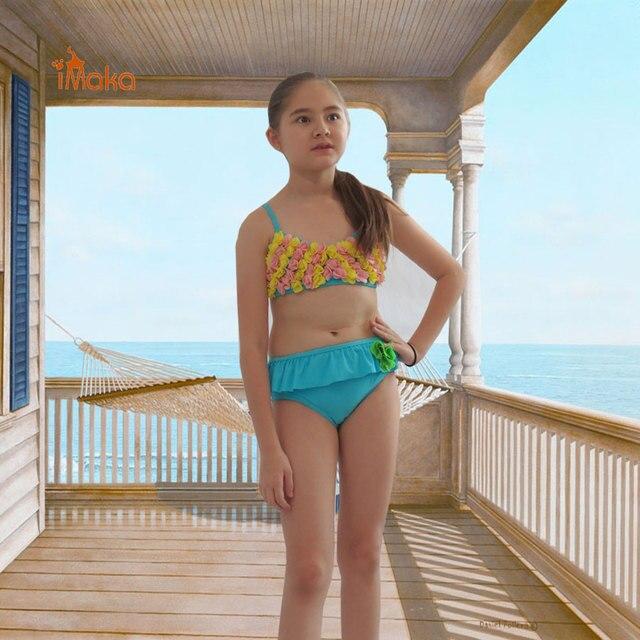 Imaka New Summer Kids Bikini Set Girls Flower Bathing Suit -9100