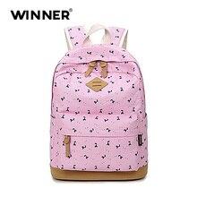 Победитель Мода Розовый опрятный школьные рюкзаки для девочек-подростков Mochila Escolar нубук печати холст рюкзак мешок школы