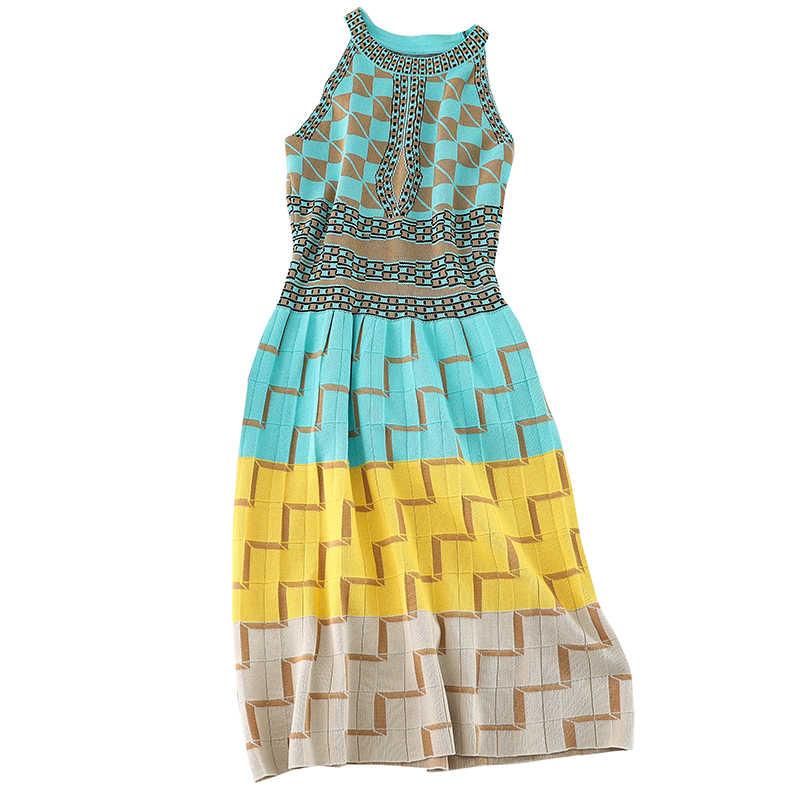 Осеннее городское женское винтажное трикотажное платье-футляр с геометрическим узором длиной до колена, женское короткое тонкое платье средней длины с лямкой через шею