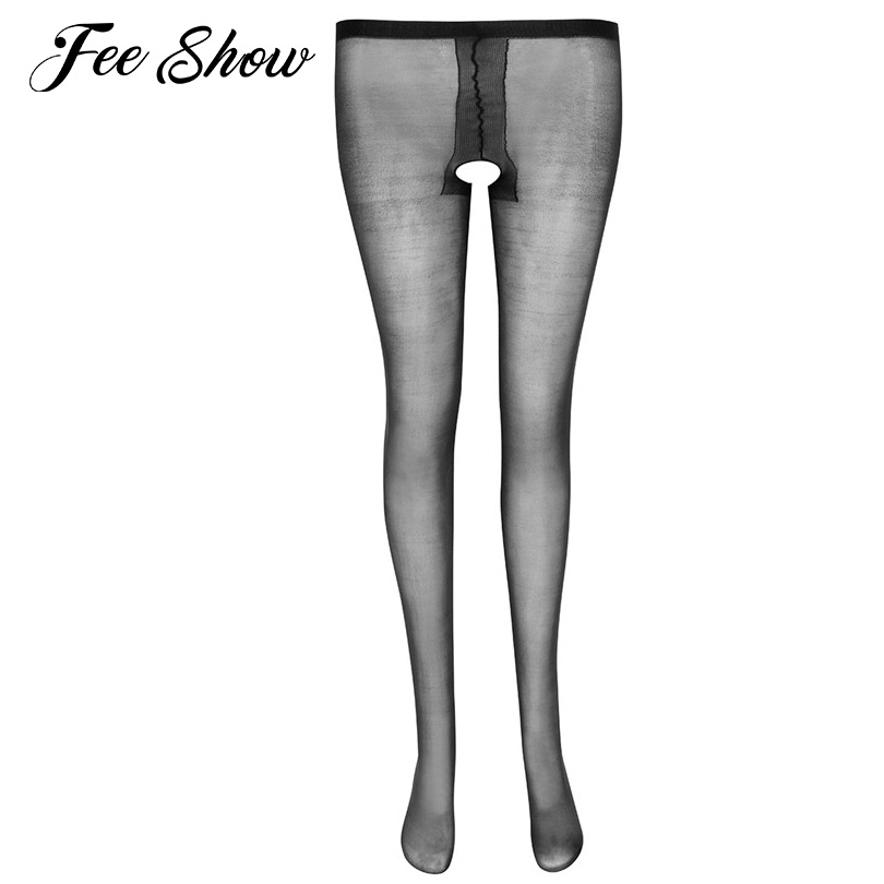 Sexy Womens Sheer Crotchless Pantyhose Tights Female Hosiery Shiny Silk Stockings Sexy Womens High-waisted Soft Tights Stockings