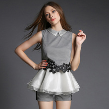 2015 New Arrival Sleeveless Peter pan Collar Organza Patchwork Top Shorts Twinset 2 pieces Set Houndstooth clothing sets OM368