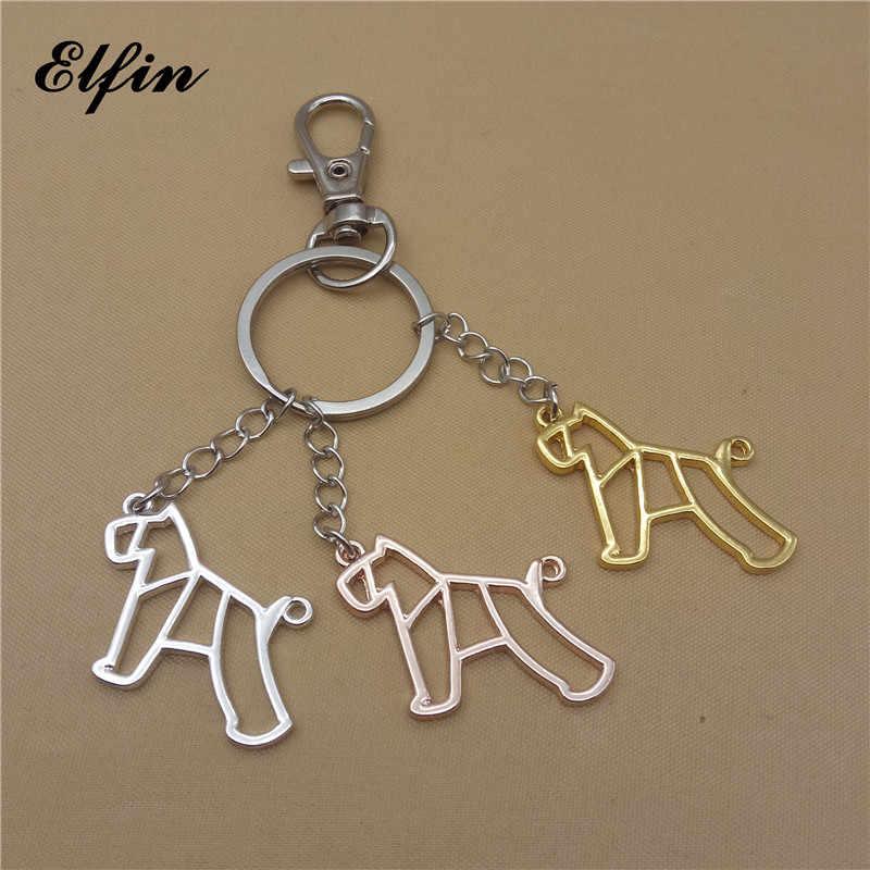 Elfin модный стиль оригами миниатюрный Шнауцер брелки геометрические ювелирные изделия оригами ювелирное изделие с животным шнауцером автомобильные брелоки